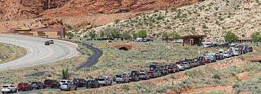 Vehicles at park entrance, Arches National Park, Utah