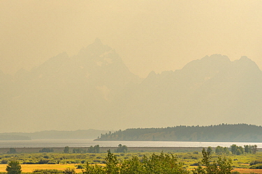 Smoke from wildfire, Grand Teton National Park, Wyoming