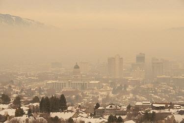City in smog in winter, Salt Lake City, Utah