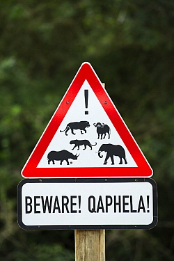Warning sign, Mkhuze Game Reserve, KwaZulu-Natal, South Africa