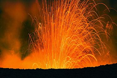 Tephra during volcanic eruption, Mount Yasur, Tanna Island, Vanuatu