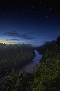 River in tropical rainforest at dusk, Tambopata Research Center, Peru