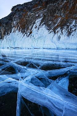Cracks in ice, Lake Baikal, Siberia, Russia