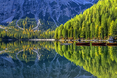 Alpine lake and mountains, Lake Braies, Fanes-Sennes-Prags Nature Park, Dolomites, Tyrol, Italy
