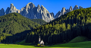 San Giovanni Chapel in the Val di Funes, at the foot of Odle Geisler peak, Dolomites, Tyrol, Italy