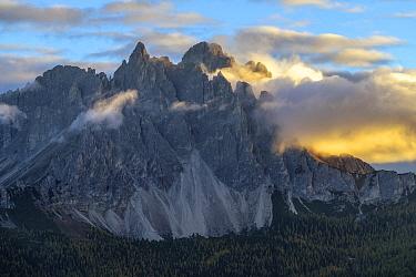 Cadini de Misurina at dawn, Three Peaks Nature Park, Dolomites, Tyrol, Italy, UNESCO World Heritage Site
