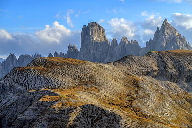 Cadini de Misurina and Monte Campedelle see from the food of Tre Cime de Lavaredo, Three Peaks Nature Park, Dolomites, Tyrol, Italy, UNESCO World Heritage Site
