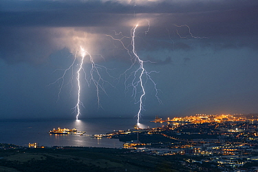 Lightning strikes, Trieste, Italy