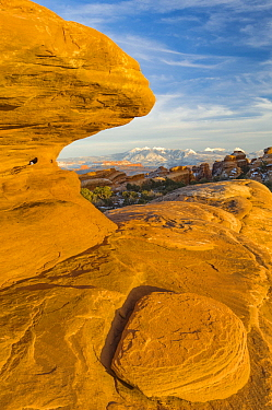 Sandstone rock formations, La Sal Mountains, Arches National Park, Utah