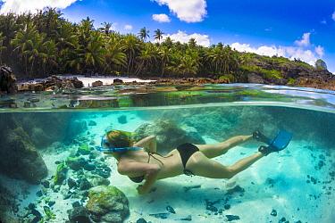Snorkler along coast, Christmas Island, Australia