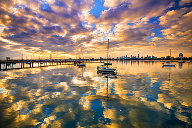 Coast at sunset, St Kilda Harbor, Port Phillip Bay, Mornington Peninsula, Victoria, Australia