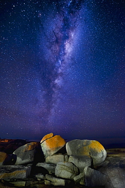 Granite rocks with lichen and Milky Way, Bicheno, Tasmania, Australia