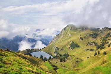 Alpine lake in mist, Oberstdorf, Bavaria, Germany