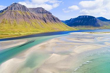 Sandbanks in fjord, Onundarfjordur, Westfjords, Iceland