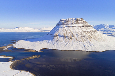 Mountain in winter, Kirkjufell Mountain, Snaefellsnes, Iceland