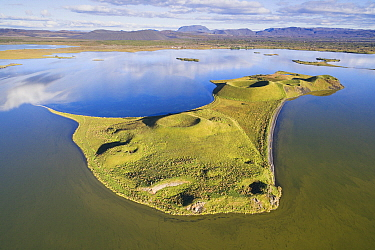 Island with craters, Lake Myvatn, Iceland