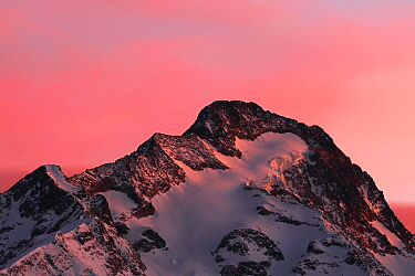 Mountain at sunset, Alps, France