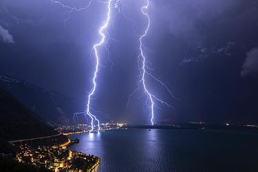 Lightning strikes, Lake Geneva, Vaud, Switzerland