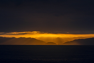 Sunset over coastal mountains, Taltal, Chile