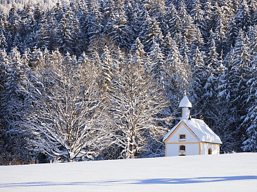 Chapel in winter, Upper Bavaria, Germany