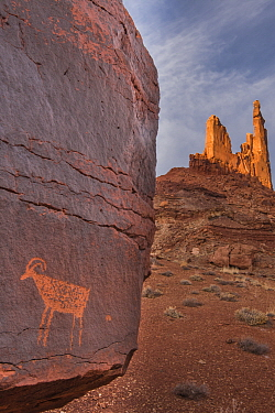 Petroglyph and rock formations, Moses and Zeus Spires, Canyonlands National Park, Utah