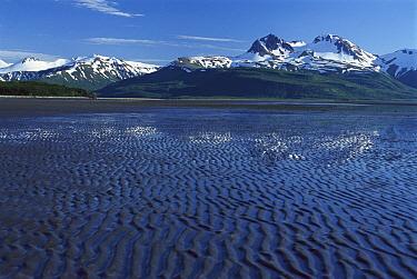 Mountains towering above mudflats, Hallo Bay, Katmai National Park, Alaska  -  Matthias Breiter