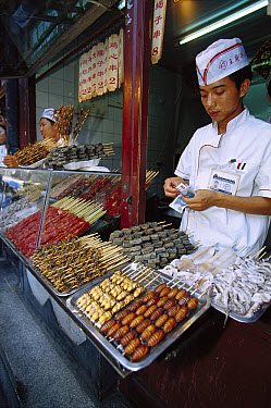Food stall selling scorpions, cicada, and larva, Beijing, China  -  Cyril Ruoso