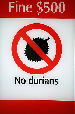 Durian (Durio zibethinus) sign forbidding Durian fruit in Singapore tram because of their unpleasant smell, Singapore  -  Cyril Ruoso