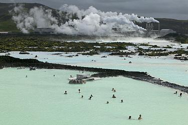 Tourists soaking in Blue Lagoon spa at Svartsengi Geothermal Power Plant, Reykjanes Peninsula, Iceland  -  Cyril Ruoso