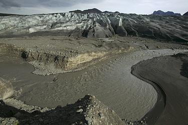 Glacial runoff, Vatnajokull Glacier, Skaftafell National Park, southeast coast, Iceland  -  Cyril Ruoso
