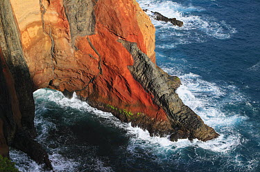 Rocky volcanic cliff in the Ponta de Sao Lourenco Nature Reserve, Madeira  -  Cyril Ruoso
