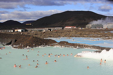 People bathing in geothermal baths next to Reykjavik geothermal power plant, Iceland  -  Cyril Ruoso