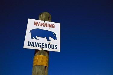 Hippopotamus (Hippopotamus amphibius) warning sign, Africa  -  Richard Du Toit