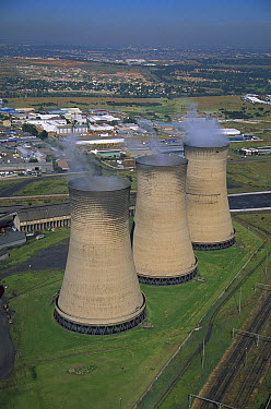 Aerial view of cooling towers at Kelvin Power Station, Johannesburg, South Africa  -  Richard Du Toit