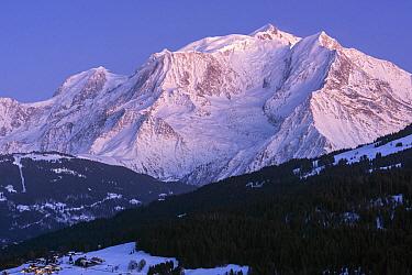 Mont-Blanc massif at dusk, seen from the village of Combloux, Haute-Savoie, France