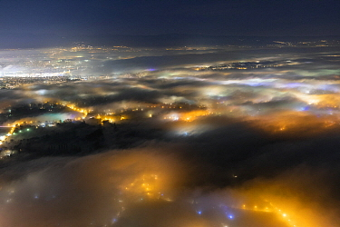 Atmospheric and light pollution over Geneva and its suburbs, Sal?ve, Haute-Savoie, France