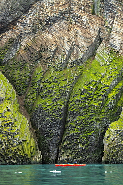 Kayakers looking at moss-covered basalt cliffs, Franz Josef Land, Russia
