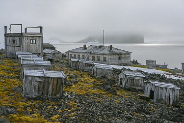 Abandoned dog kennels and buildings, Franz Josef Land, Russia