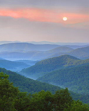 Hills at sunrise, Pisgah National Forest from Blue Ridge Parkway, North Carolina