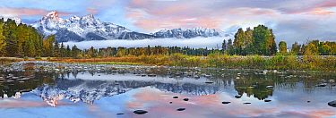 Mountains reflected in river, Grand Teton National Park, Wyoming