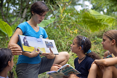 Conservationist, Katra Laidlaw, teaching local school children about sloth conservation, Sloth Conservation Foundation, Puerto Viejo de Talamanca, Costa Rica