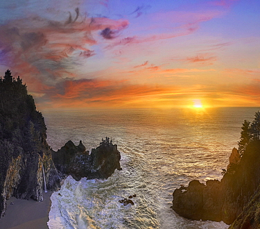 Waterfall on beach at sunset, McWay Falls, Big Sur, California