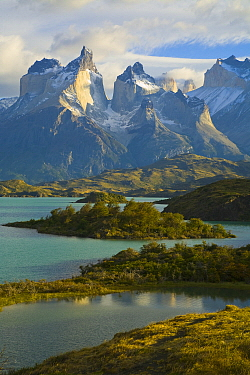 Lake and mountains, Lake Pehoe, Torres del Paine National Park, Patagonia, Chile