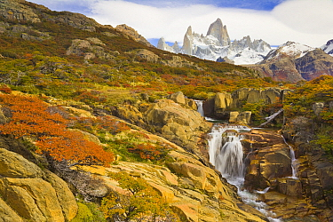 Waterfalls and mountains, Arroyo del Salto River, Fitzroy Massif, Los Glaciares National Park, Patagonia, Argentina