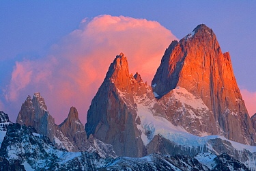 Cumulus clouds above peaks, Fitzroy Massif, Los Glaciares National Park, Patagonia, Argentina