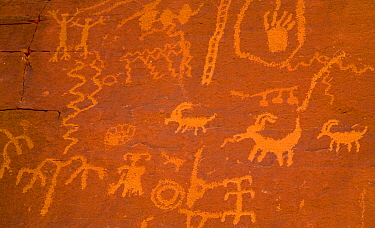 Ancient rock art, Atlatl Rock, Valley of Fire State Park, Nevada