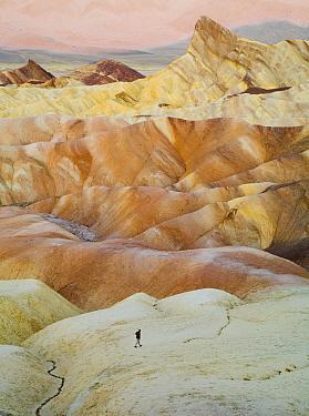 Hiker in desert, Zabriskie Point, Death Valley National Park, California