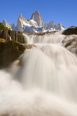 Waterfall and mountains, Arroyo del Salto River, Fitzroy Massif, Los Glaciares National Park, Patagonia, Argentina