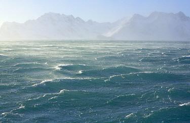 Waves and coastal mountains, South Georgia Island