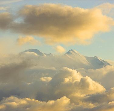 Mountain with cumulus clouds, Mount Denali, Denali National Park, Alaska